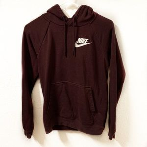Nike Maroon Hooded Sweatshirt with Front Pocket